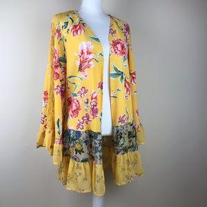 Time & Tru Floral Yellow Ruffle Kimono One Size